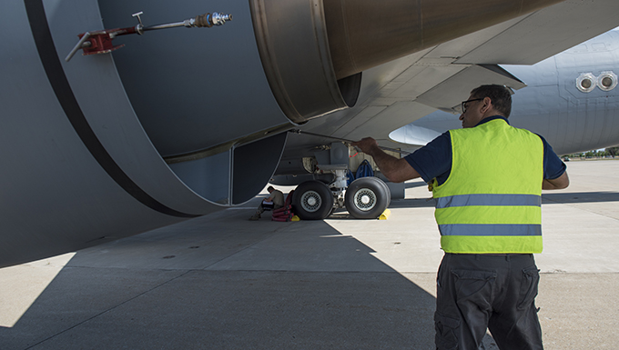 Routine KC-135 engine wash conducted